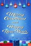 新年快乐圣诞快乐概念礼物盒假日在平的垂直的贺卡上写字的蒴装饰 向量例证
