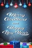 新年快乐圣诞快乐概念礼物盒假日在平的垂直的贺卡上写字的蒴装饰 皇族释放例证