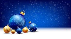 新年快乐圣诞节降雪的球背景,文本输入箱子,蓝色背景 库存例证