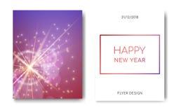 新年快乐夜与火花闪烁发光,星爆炸焕发和透镜火光的飞行物横幅在蓝色背景 显示 库存例证