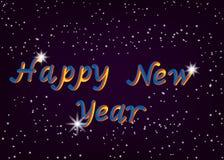 新年快乐字体的传染媒介例证与闪烁星信件的 在样式翻译泡影字体上写字的3D 向量例证