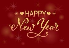 新年快乐字法与梯度信件的在与梯度装饰元素的红色背景 库存照片
