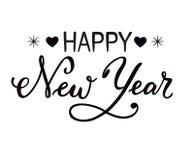 新年快乐手拉的字法在白色背景隔绝了 库存照片