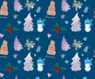 新年快乐无缝的样式,圣诞节冬天题材,美好的水彩背景 向量例证