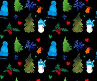 新年快乐无缝的样式,圣诞节冬天题材,美好的水彩背景 皇族释放例证