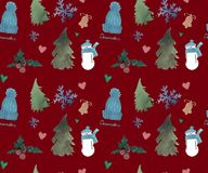 新年快乐无缝的样式,圣诞节冬天题材,美好的水彩背景 库存例证