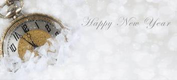 新年快乐横幅与一只怀表的大小图象 免版税库存图片