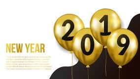 新年快乐横幅与金飞行的氦气气球的背景模板 也corel凹道例证向量 库存照片