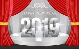 新年快乐横幅与3d银色数字的背景模板 也corel凹道例证向量 免版税库存图片