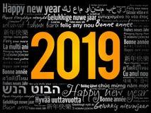 2019新年快乐用不同的语言 免版税库存照片