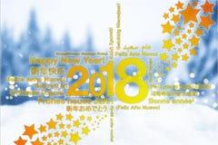新年快乐用与星贺卡概念的不同的语言有多雪的背景 免版税库存图片