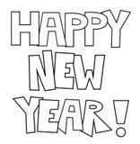 新年快乐着色页 免版税库存图片