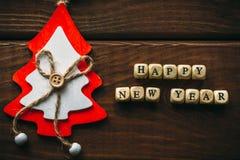 新年快乐背景顶视图 免版税库存照片