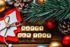 新年快乐背景,圣诞节装饰顶视图 库存图片