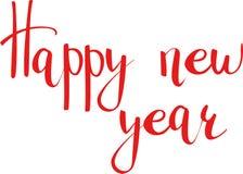 新年快乐行情 在例证上写字的手拉的传染媒介 向量例证