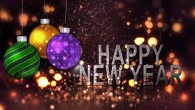 新年快乐装饰品庆祝4K圈 股票录像