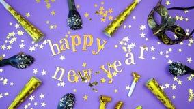 新年快乐金子在并且编号旗布上写字 图库摄影