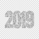 新年快乐银色第2019年 银色闪烁数字隔绝了白色透明背景 发光的发光的设计 库存照片