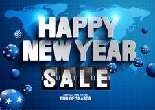新年快乐销售世界地图背景 向量例证