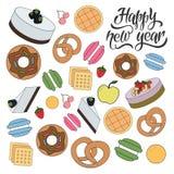 新年快乐面包店样式 库存例证