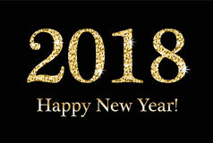 新年快乐,贺卡,您的设计的模板 2018年从金子闪烁的题字,衣服饰物之小金属片 闪耀 库存图片