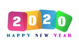 新年快乐2020卡片和问候文本设计 库存图片