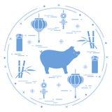 新年快乐2019卡片 中国新的符号年 猪,灯笼,金钱,竹子,运气的硬币朱红色的信封  欢乐 库存例证