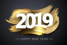 新年快乐2019年与金刷子冲程的贺卡 皇族释放例证