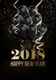 新年快乐2018年圣诞节球气球装饰confettti传染媒介金黄背景 免版税图库摄影