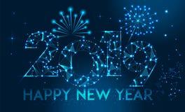 新年快乐2019年横幅设计 几何多角形2019新年贺卡 8背景eps烟花向量 库存例证