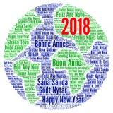 新年快乐2018年用不同的语言 图库摄影