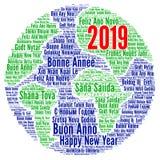 新年快乐2019年用不同的语言 库存例证