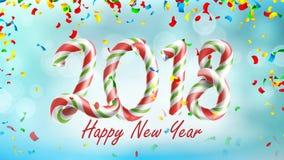 新年快乐2018年背景传染媒介 海报或贺卡设计模板2018年 下跌的五彩纸屑爆炸 免版税库存图片