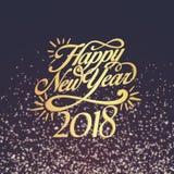 新年快乐2018年背景装饰 贺卡设计模板2018年五彩纸屑 日期的传染媒介例证2018年 库存图片