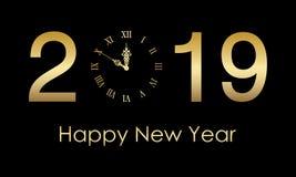 新年快乐2019年金子颜色,5k 向量例证