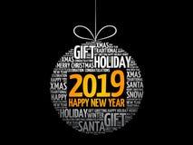 新年快乐2019年,圣诞节球 免版税库存照片
