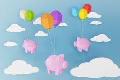 新年快乐2019年,猪和气球有云彩,纸裁减艺术和工艺样式的在蓝色背景 免版税库存图片