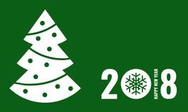 新年快乐2018年,绿色贺卡 库存照片
