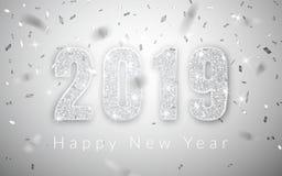 新年快乐2019年,贺卡,传染媒介例证银色数字设计  库存例证
