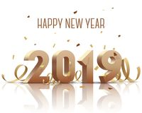 新年快乐2019年 与丝带和五彩纸屑的金子3D数字在白色背景 库存图片