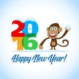新年快乐2016年 与猴子和大五颜六色的2016个图的新年明信片 新年卡片, T恤杉,横幅模板 向量例证