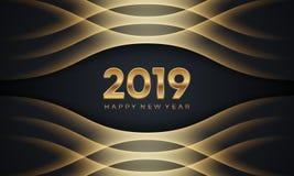 新年快乐2019年 与金黄数字的创造性的豪华抽象传染媒介例证在黑暗的背景