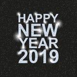 新年快乐2019年 与银色衣服饰物之小金属片的文本 向量例证