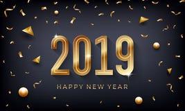 新年快乐2019年 与闪耀的金黄数字的创造性的抽象传染媒介例证在黑暗的背景