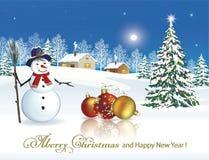 新年快乐2019年 与雪人的圣诞树 库存照片