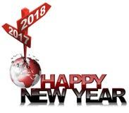 新年快乐2017 2018年-两路标 皇族释放例证
