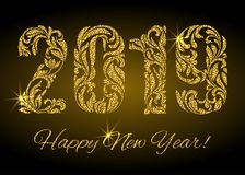 新年快乐2019年 从花饰的在黑暗的背景的图与金黄闪烁和火花 免版税库存照片