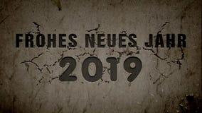 新年快乐2019年-在德语- 库存例证