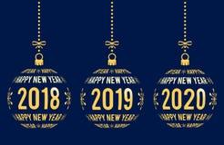 新年快乐2018年2019年, 2020设计元素 库存例证