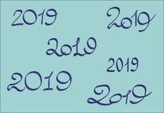 新年快乐2019年 数字设计集合 向量例证
